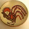 Antique/ Vintage Romanian Folk Art Pottery. Stylized Rooster Terracotta Dish. Horezu. Stefan Mischiu