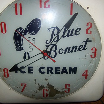 Vintage Blue Bonnet Ice Cream Clock - Advertising