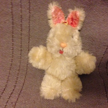 Shanghai Dolls Factory Bunny Rabbit White Wool Plush 1950s 60s Pink Glass Eyes