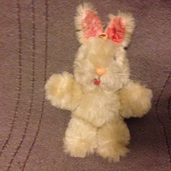 Shanghai Dolls Factory Bunny Rabbit White Wool Plush 1950s 60s Pink Glass Eyes - Dolls