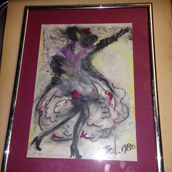 Chalk drawing dancing lady, by Ben ?  - Visual Art