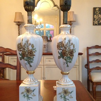 Found Pair of 1920s Porclain Table lamps - Lamps