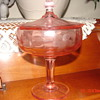 Unknown Pink Compote with etched flower