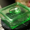 Green Depression Glass Refrigerator Dish - Hazel Atlas