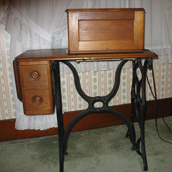 walnut sewing machine table  - Sewing