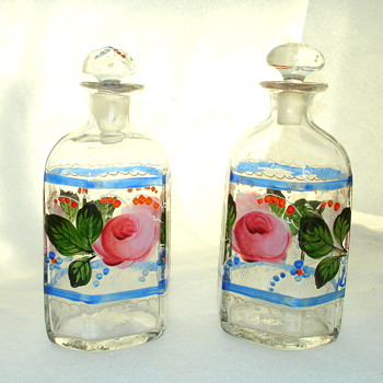 Lotion bottles, handblown and handpainted - Art Glass