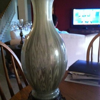 Leviton Mottled? Green Glass Vase Lamp with Brass Base  - Lamps