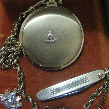 Masonic Bulova Accutron Pocket watch N5 with 14K fob 12k knife and chain.