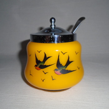 Czech Art Deco Tango Glass Jam Pot/Sugar Bowl