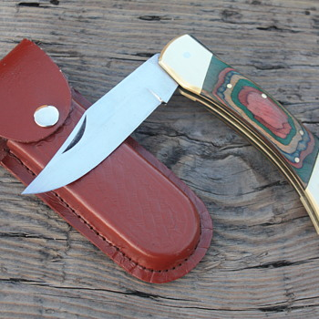 LARGE PAKISTANI LOCKBACK KNIFE with CENTER-SWELLED PAKKAWOOD HANDLE & MATCHING LEATHER SHEATH