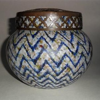Czech glass -    Zig-Zag decor - Art Glass