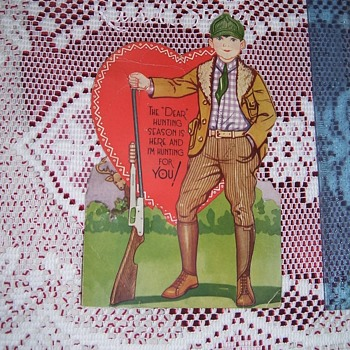 VINTAGE VALENTINE ODDITY, HUNTER WITH REAL METAL GUN ATTACHED!  ! 1920s-30s RARE!