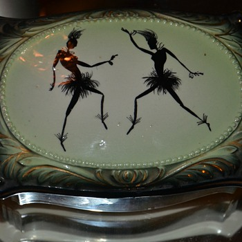 Covered ceramic dish with a wild image of African Dancers on it - Art Pottery