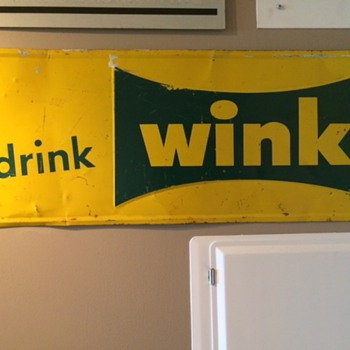 "VINTAGE ""drink wink"" METAL ADVERTISING SIGN - Advertising"