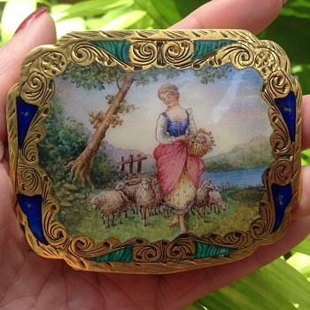 Silver Gilt Enamel Compact - Accessories