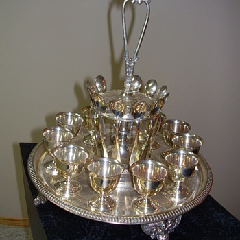 Sterling Silver Tray with Goblets and Spoons