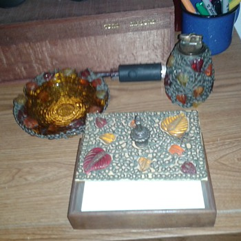 vintage smoke set. BOX.ASH TRAY.AND FLINT LIGHTER BOTTLE.