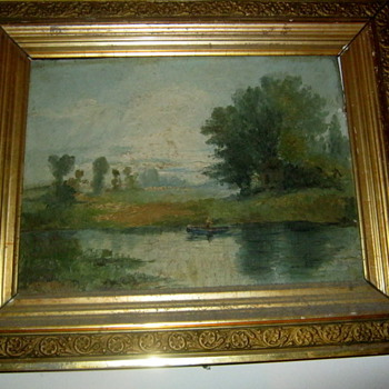 Antique Landscape oil painting  on wood