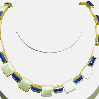 Antique MOP Blue Enamel Egyptian Revival? Etched Brass Choker Necklace