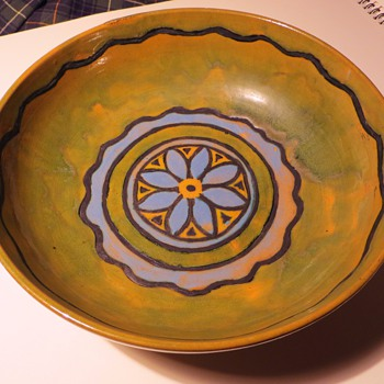 Vintage/Antique Pottery Bowl~Beautiful Color, Interesting Application~Unsigned - Art Pottery