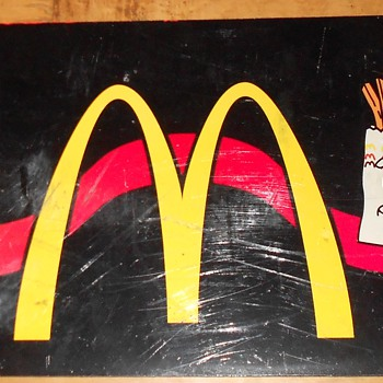 McDonald's fast-food artwork/sign/marquee/panel. McD's Golden Arches. - Signs