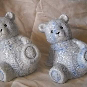 4.25 Inch, Porcelain, Leaning Teddy Bear w/ Decorative Powder Blue Snowflakes. - Art Pottery