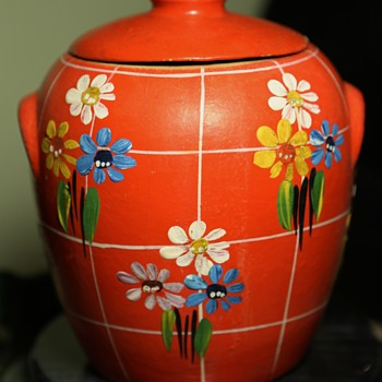 Orange Cookie Jar - Cottage Basketware? - Art Pottery