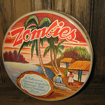 Vintage ZOMBIES candy confectionary trademark tin New Orleans/ Deep South USA