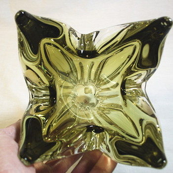 "Olive Glass Vase""Chalet,Canada""Mid XX Century - Art Glass"