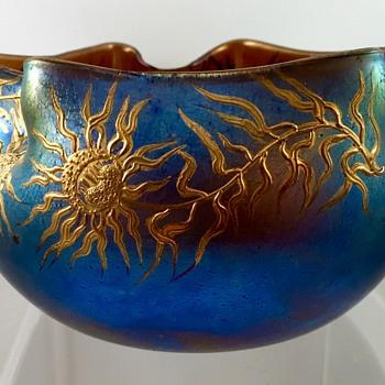 Loetz Braun Silberiris Bowl, DEK 455, st PN II-1052, ca. 1903
