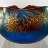 Loetz Braun Silberiris Bowl with enameled decoration, st PN II-1052, ca. 1903