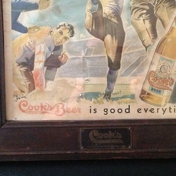 COOKS BEER GOLD BLUME FOOTBALL SIGN