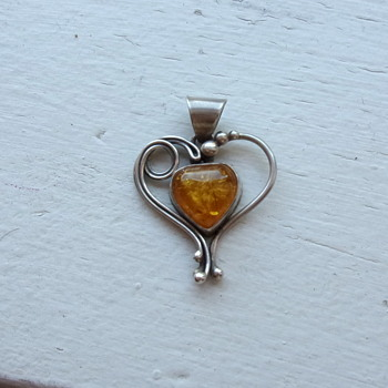 Amber and Sterling Heart Pendant - Sterling Silver