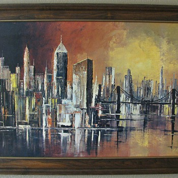 Mid Century Modern Sunset Cityscape - Mid Century Modern
