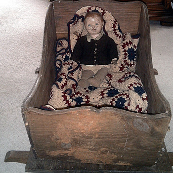 Old Doll with Primitive  Wood Rocking    Bed - Dolls