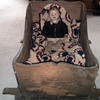 Old Doll with Primitive  Wood Rocking    Bed