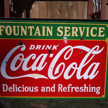 "Hanging porcelain ""Fountain Service"" Sidewalk Sign - Coca-Cola"