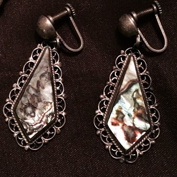 Silver Filgree and Abalone Earrings - Silver