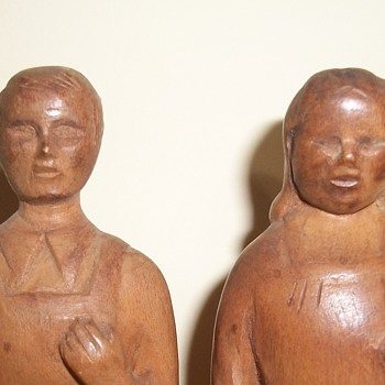 Folk Art Sculpture Carvings Man and Woman Figures collection Jim Linderman - Folk Art