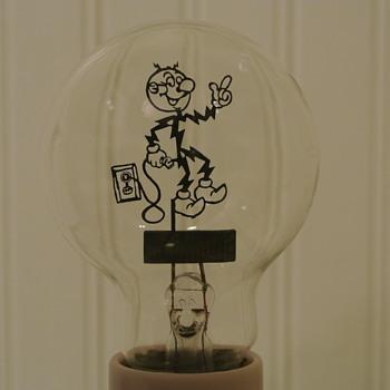 Rare 1940's Reddy Kilowatt Filament Light Bulb - Advertising
