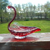 Art Glass Swan Dish