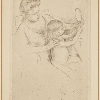 "Mary Cassatt 1905 Drypoint - ""Looking into the Hand Mirror, No. 2"""