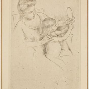 "Mary Cassatt 1905 Drypoint - ""Looking into the Hand Mirror, No. 2"""