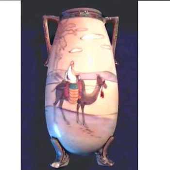 "Nippon Handled and Footed ""Desert Scene"" Vase /Circa 1911"