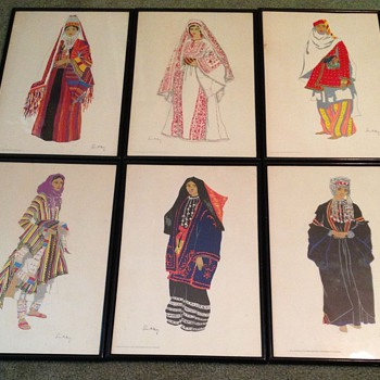 6-Vintage Costumes of the Holy land Original Prints by Susan Southby - Posters and Prints