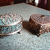 Two More White Metal Jewelry Boxes /Silver Oval and Gold Heart Shaped Filigree/Unknown Maker and Age