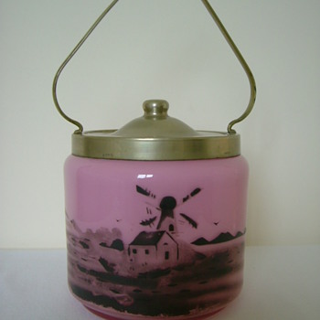 Czech Art Deco Tango Glass Biscuit Barrel