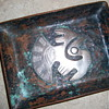 HAMMERED RAW COPPER TRAY WITH SILVER EMBLEM