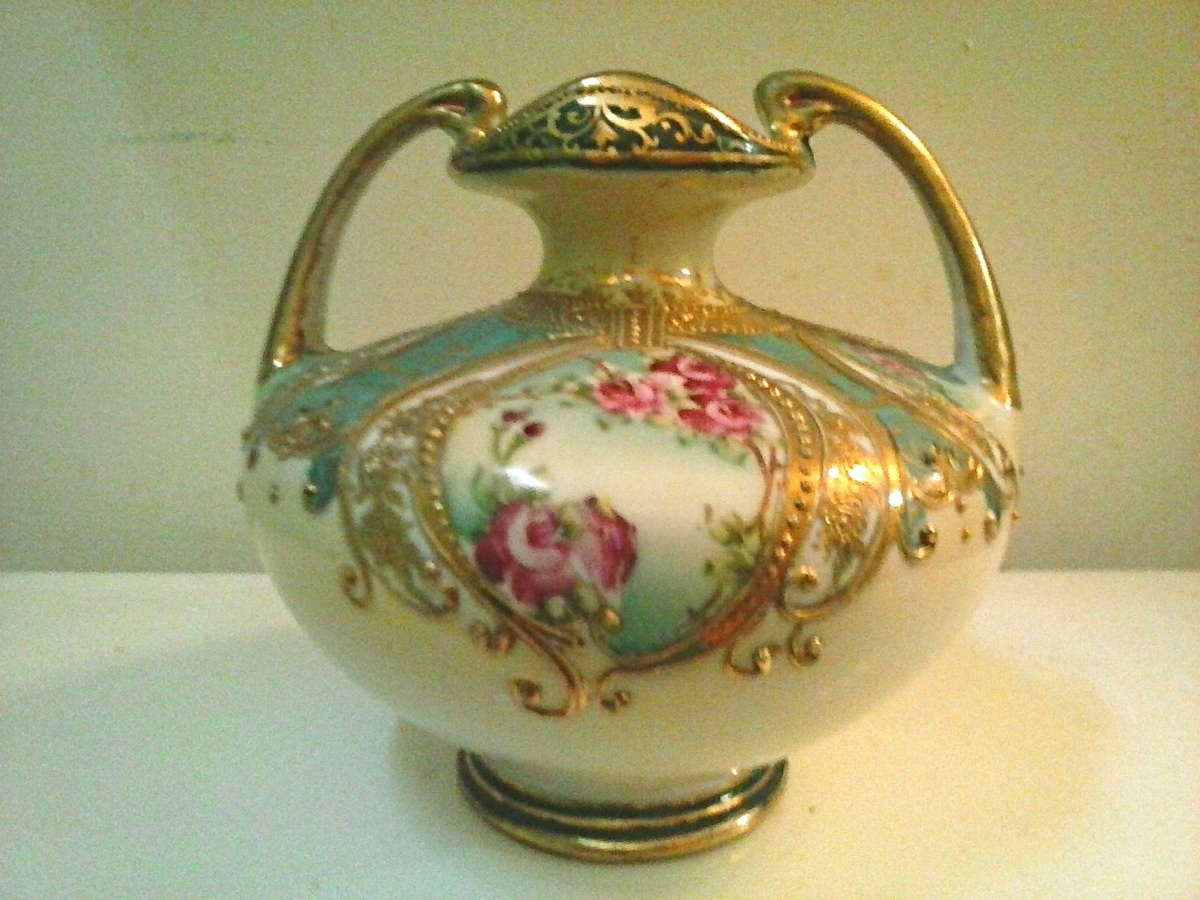 Nippon 6 Handled Urn Vase Hand Painted Floral And Gilded Moriage Decor Circa Pre 1890