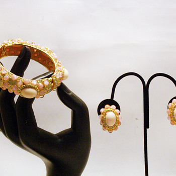 Vintage Kenneth Jay Lane Pink Jeweled Bangle and Earrings Set - Costume Jewelry